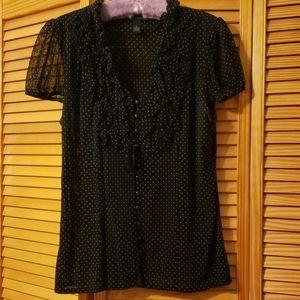Inc sheer polka dot blouse.